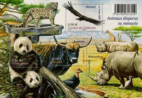 Timbre: Animaux disparus ou menacés d'extinction