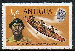 Timbre: Canoë de combat des indiens des Caraïbes