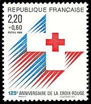 Timbre: 125è anniv. de la Croix Rouge (carnet:dent.13.5x13)
