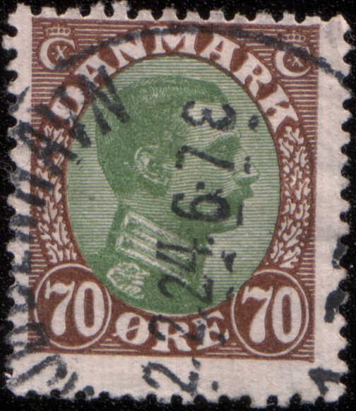 Timbre:   Christian X type e (brun et vert)
