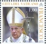 timbre: Pape François tenant la croix de Jésus
