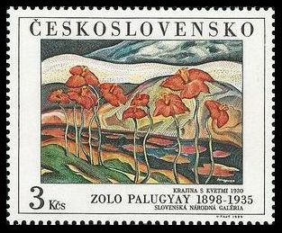 Timbre: Paysage avec des fleurs 1930 - Zolo Palugyay 1898-1935