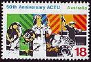 timbre: 50 ans de l'ACTU, conseil des syndicats