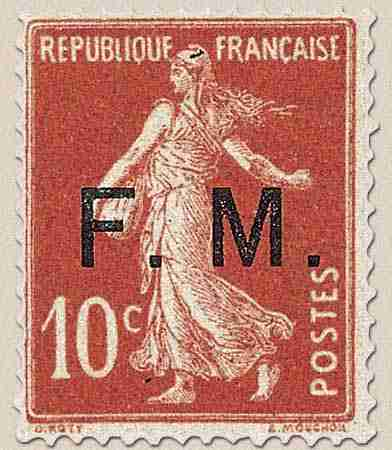 timbre: Franchise militaire ( rouge )