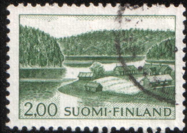 Timbre: Ferme au bord d'un lac (vert)