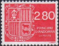 Timbre: Type Blason d'Andorre.