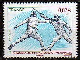 timbre: Championnat du monde d'escrime à Paris