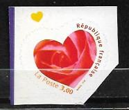 Timbre: St Valentin Rose dans un cœur Adhésif de carnet