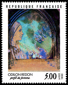 Timbre: ''Profil de femme'' d'Odilon Redon