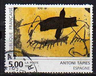 Timbre: Création pour la Poste d'Antoni Tapies (Note)