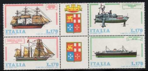 Timbre: Constructions navales [Bloc de 4]