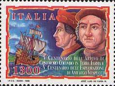 Timbre: Vème centenaire Christophe Colomb