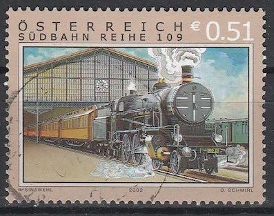 Timbre: Série trains, locomotive à vapeur 109, gare Vienne-Sud