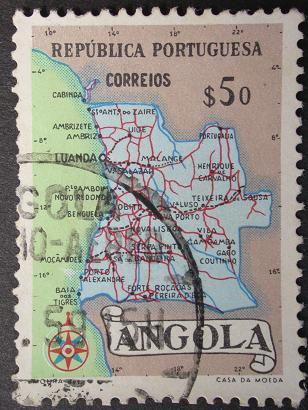 Timbre:  Carte d'Angola