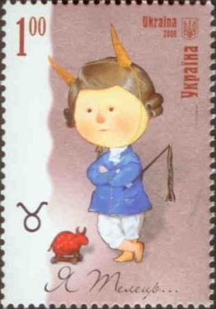 Timbre: Signe zodiacal du Taureau, enfant avec cornes