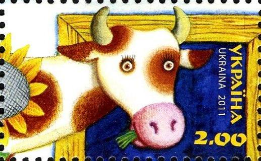 Timbre: Dessin de tête de vache