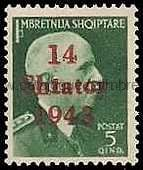 Timbre: Administration Allemande - Surcharge : 14 Shtator 1943