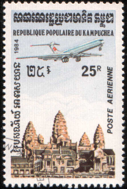 Timbre: Avion à réaction survolant le temple d'Angkor Vat