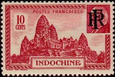 timbre: Temple d'Angkor (surchargé RF)