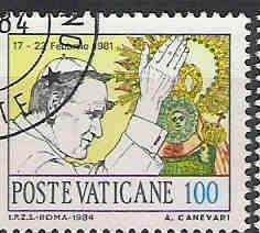 timbre: Voyage de S.S. Jean-Paul II aux Philippines+vignette