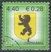 timbre: Armoirie du comté de Pärnu-sur fragment-