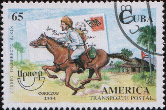 Timbre: Lettre et courrier à cheval des insurgés, XIXe s