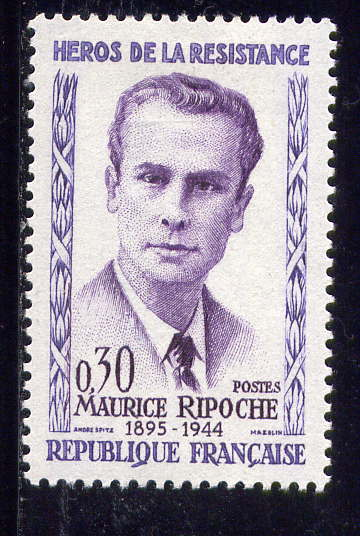 Timbre: Héros de la Résistance : Maurice Ripoche.