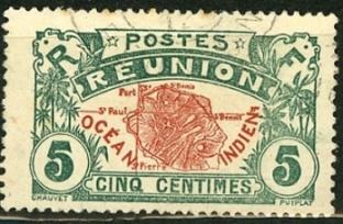 Timbre: Carte de la Réunion