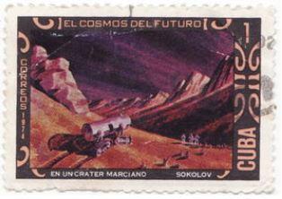 timbre: L'Univers du futur. Cratère sur Mars