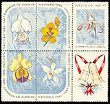 timbre: Noël. Orchidées en bas à gauche