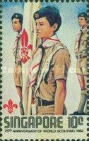 Timbre: 75ème anniversaire mouvement scouts