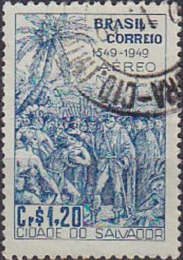 Timbre: 1549 fondation de la ville de Salvador
