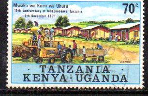 Timbre:  EST AFRICAIN 10 ans indépendance Tanzanie