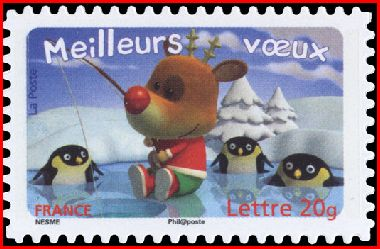 Timbre: Manchots regardant le renne patiner