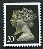 Timbre: Paire Victoria et Elisabeth II non dent.en bas