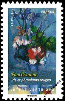 Timbre: Iris et géraniums ( Paul Cézanne)