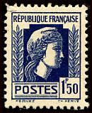 Timbre: Marianne. Série d'Alger. Bleu