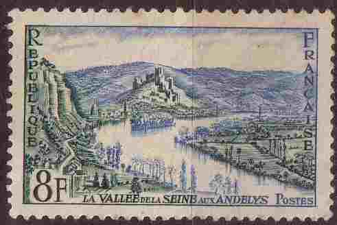 timbre: Vallée de la Seine aux Andelys bloc de 4