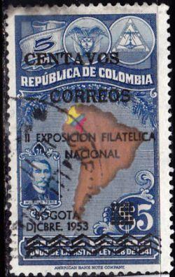 Timbre: 2e exposition philatélique nationale, à Bogota