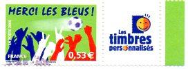 Timbre: Football : Merci les Bleux, personnalisé (vignette TP).