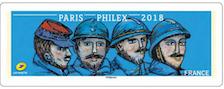 Timbre: Représentation des visages de Poilus héros de la guerre