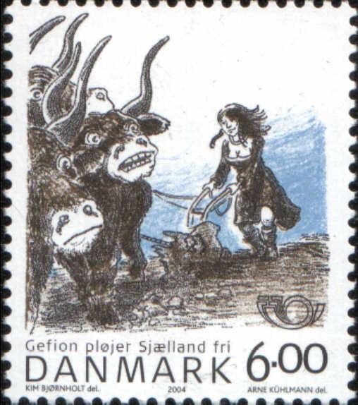 Timbre: La déesse Gefion labourant le Seeland avec ses boeufs