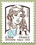 Timbre: Marianne et la jeunesse, surcharge 2013-2018