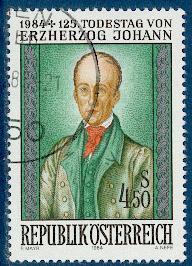 Timbre: 125ème anniv. de la mort de l'archiduc Jean d'Autriche