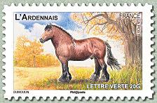 Timbre: Cheval - l'Ardennais