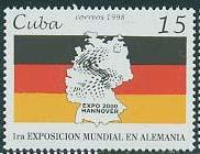 timbre: ''Expo 2000'', Hanovre. Carte et drapeau