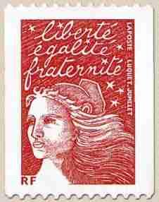 Timbre: Marianne de Luquet  Roulette avec numéro rouge