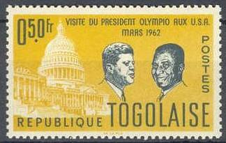 Timbre: Visite du President Olympio aux USA