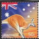 Timbre: Timbre de voeux - kangourou avec vignette