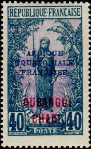 Timbre: Femme Bakalois surchargé OUBANGUI-CHARI AFRIQUE EQUATOR
